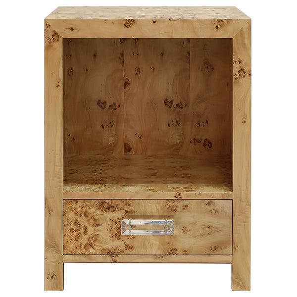 Worlds Away 1-Drawer Side Table with Acrylic Hardware – Burl Wood
