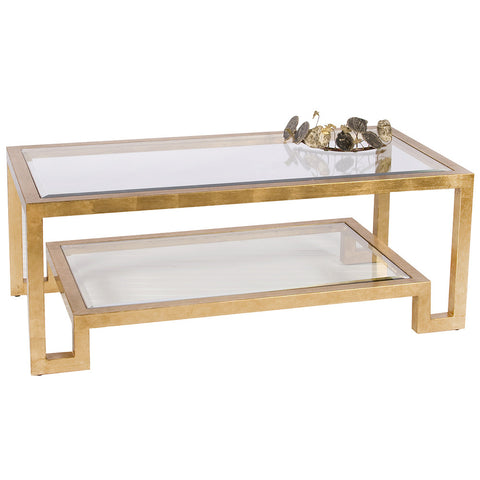Worlds Away Modern Glass Rectangular Coffee Table - Gold Leaf