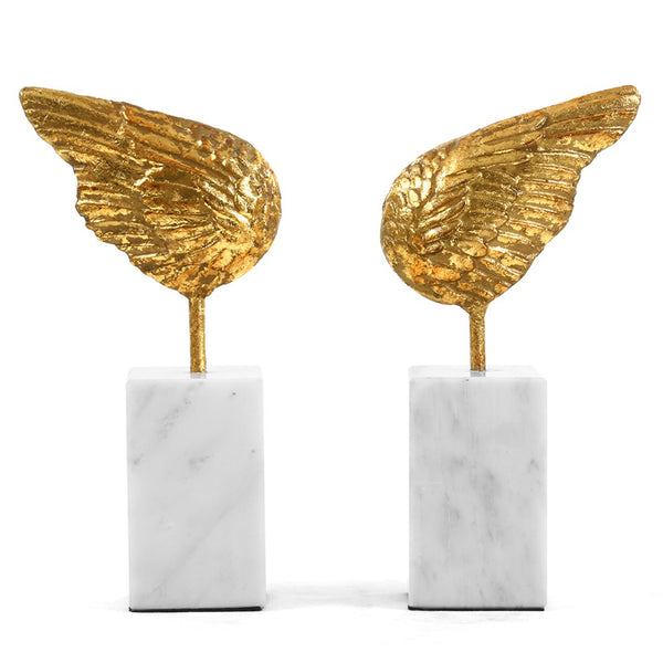 Bungalow 5 Gold Leaf Wing Sculptures on Marble Bases – Set of 2