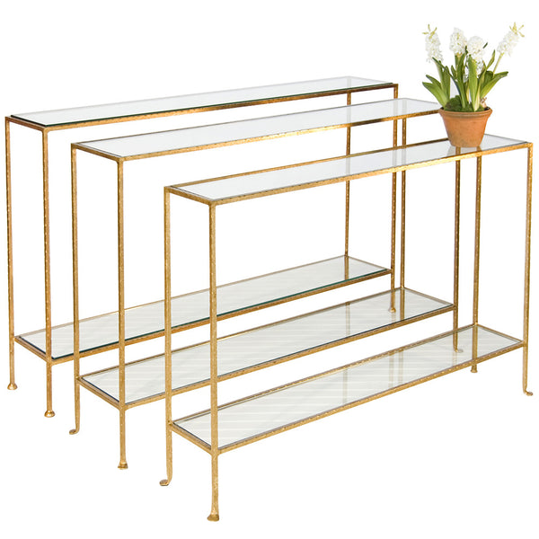 Worlds Away Gold Glass Console Table in 3 Sizes
