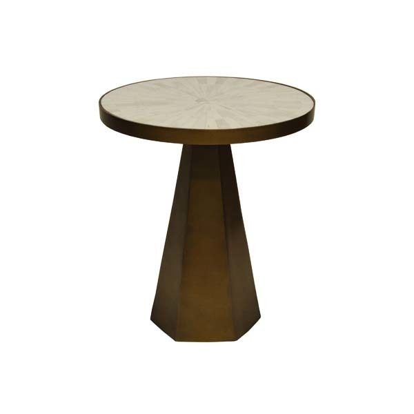 Worlds Away Antique Brass Side Table With Radial Bone Top