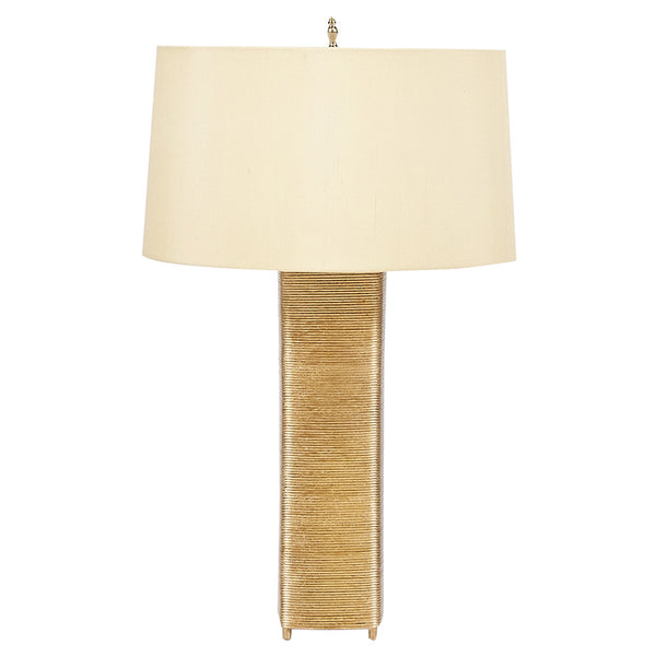 Worlds Away Wire Wrapped Table Lamp with Linen Shade – Gold Leaf