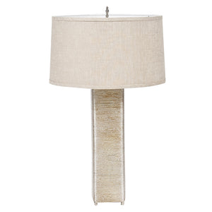 Worlds Away Wire Wrapped Table Lamp with Linen Shade – Champagne Silver Leaf