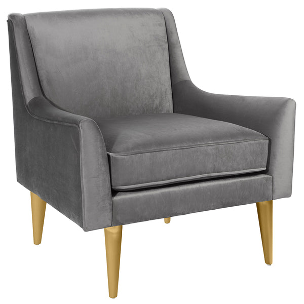 Worlds Away Lounge Chair with Brass Legs – Grey Velvet
