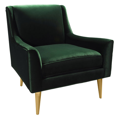 Worlds Away Lounge Chair with Brass Legs – Dark Green Velvet