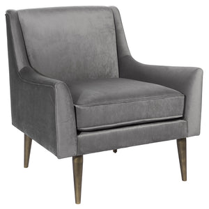 Worlds Away Lounge Chair with Bronze Legs – Grey Velvet