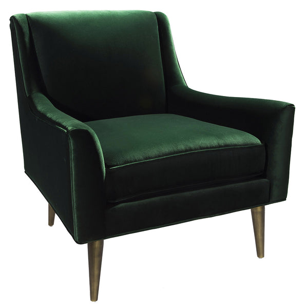 Worlds Away Lounge Chair with Bronze Legs – Dark Green Velvet