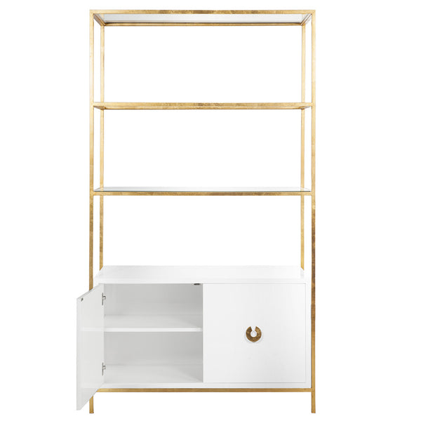 Worlds Away Contemporary Etagere with White Lacquer Cabinet – Gold Leaf