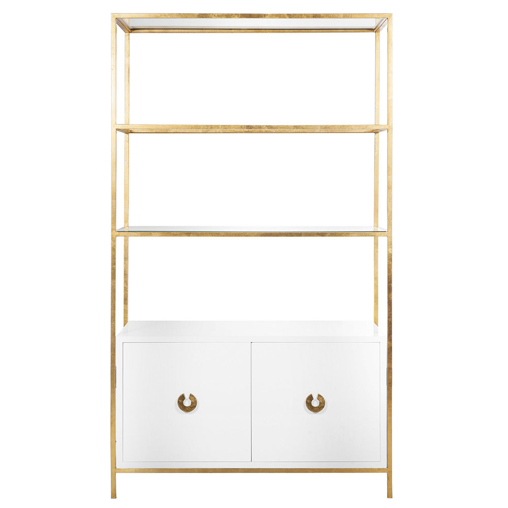Worlds Away Contemporary Etagere with White Lacquer Cabinet  Gold Leaf