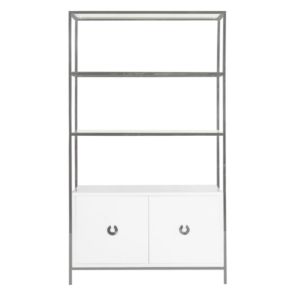 Worlds Away Contemporary Etagere with White Lacquer Cabinet – Polished Nickel
