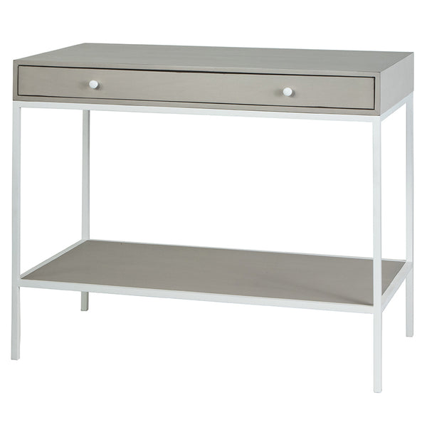 Wade Side Table with Drawer - Shell Grey/White Metal (23 Finish & 4 Metal Options)