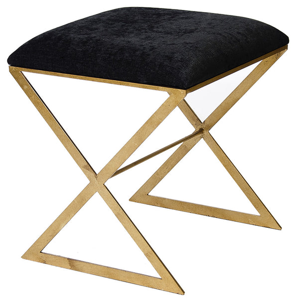 X-Side Gold Leaf Stool – Black Velvet