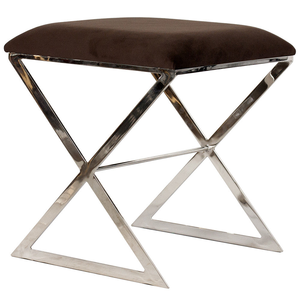 X-Side Nickel Plated Stool   Brown Velvet