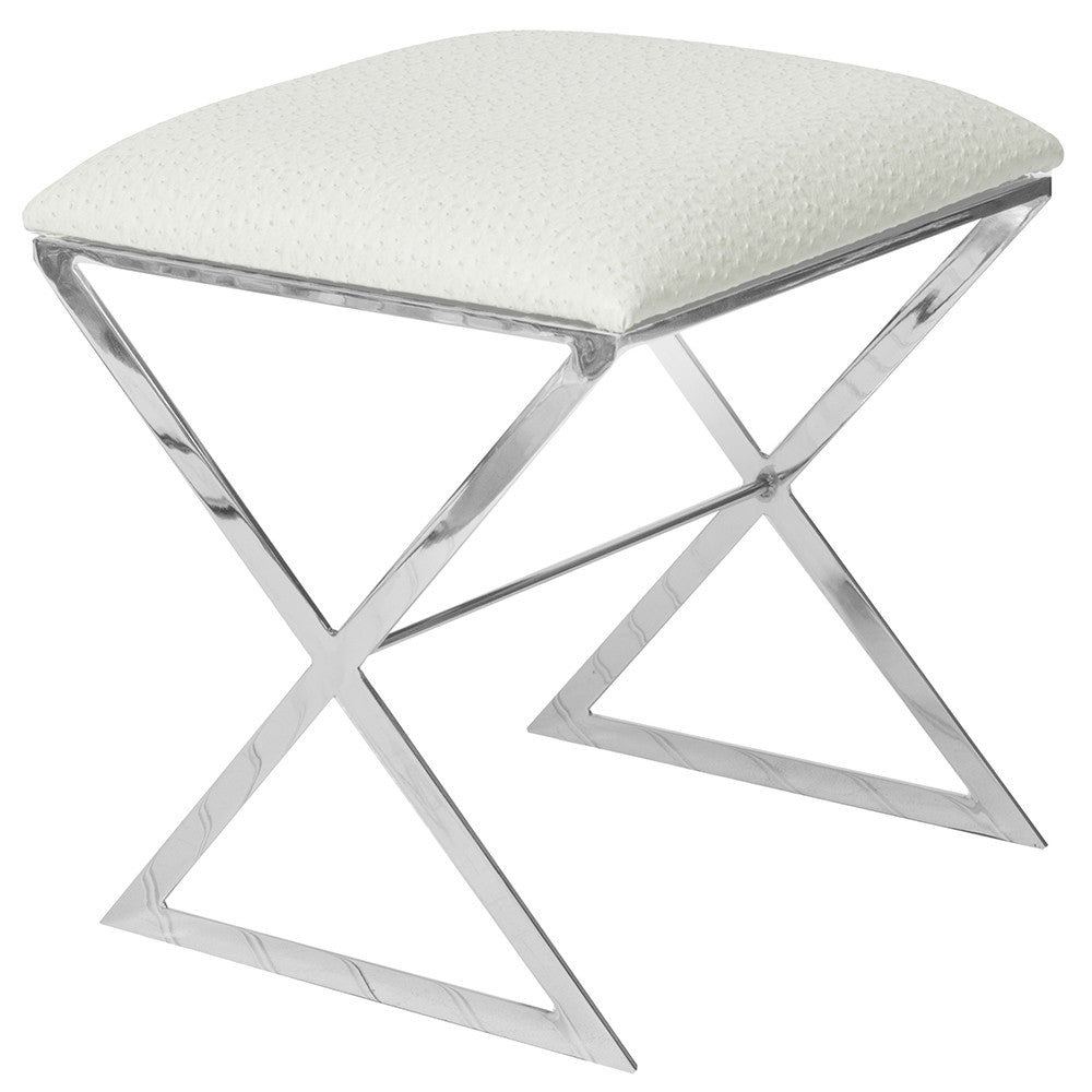 X-Side Nickel Plated Stool   White Faux Ostrich