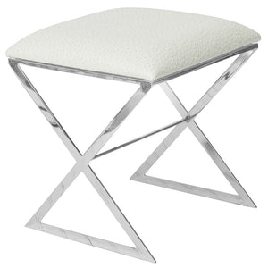 X-Side Nickel Plated Stool – White Faux Ostrich