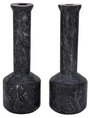 Noir Markos Decorative Candle Holder - Set of 2 - Black Marble