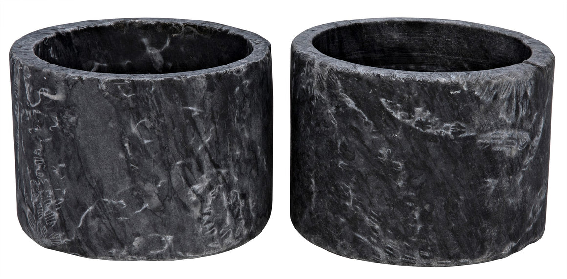 Noir Syma Decorative Black Marble Candle Holder - Set of 2