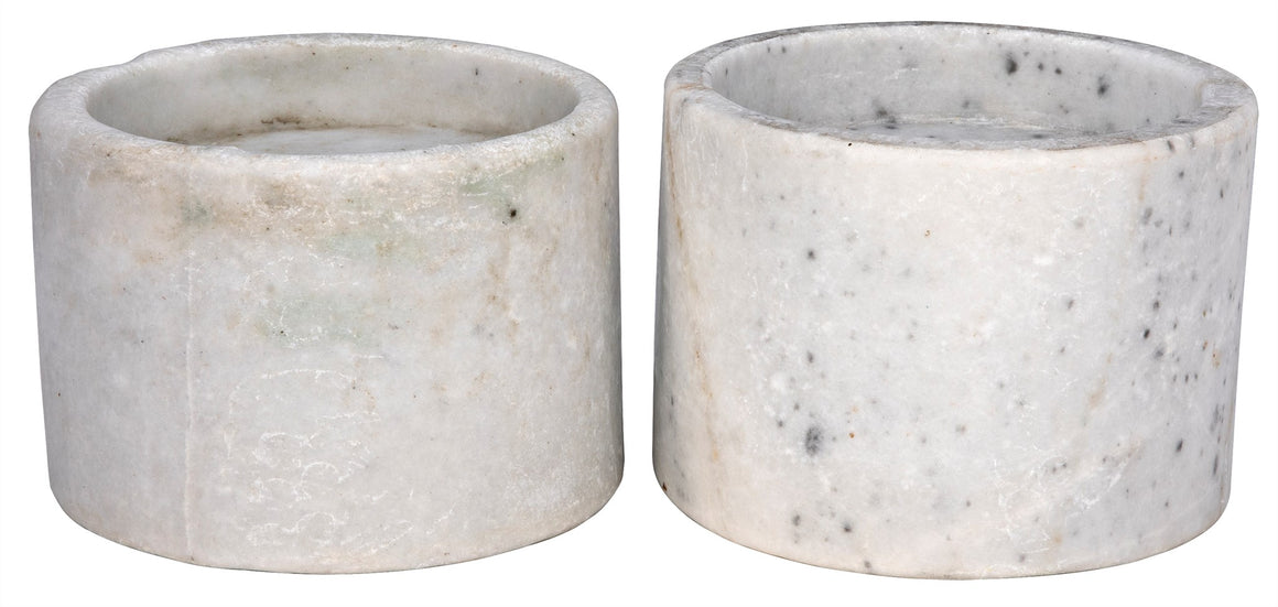 Noir Syma Decorative White Marble Candle Holder - Set of 2