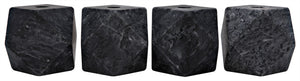 Noir Polyhedron Decorative Candle Holder - Set of 4 - Black Marble