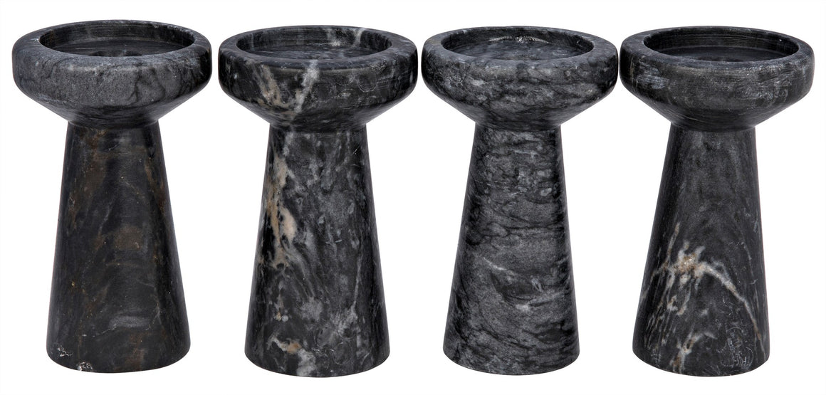 Noir Aleka Black Marble Candle Holders - Set of 4