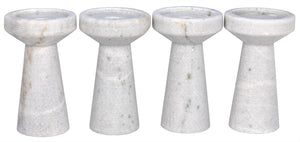 Noir Aleka White Marble Candle Holders - Set of 4