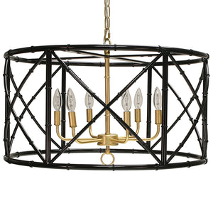 Worlds Away Zia Bamboo Drum Chandelier – Black & Gold