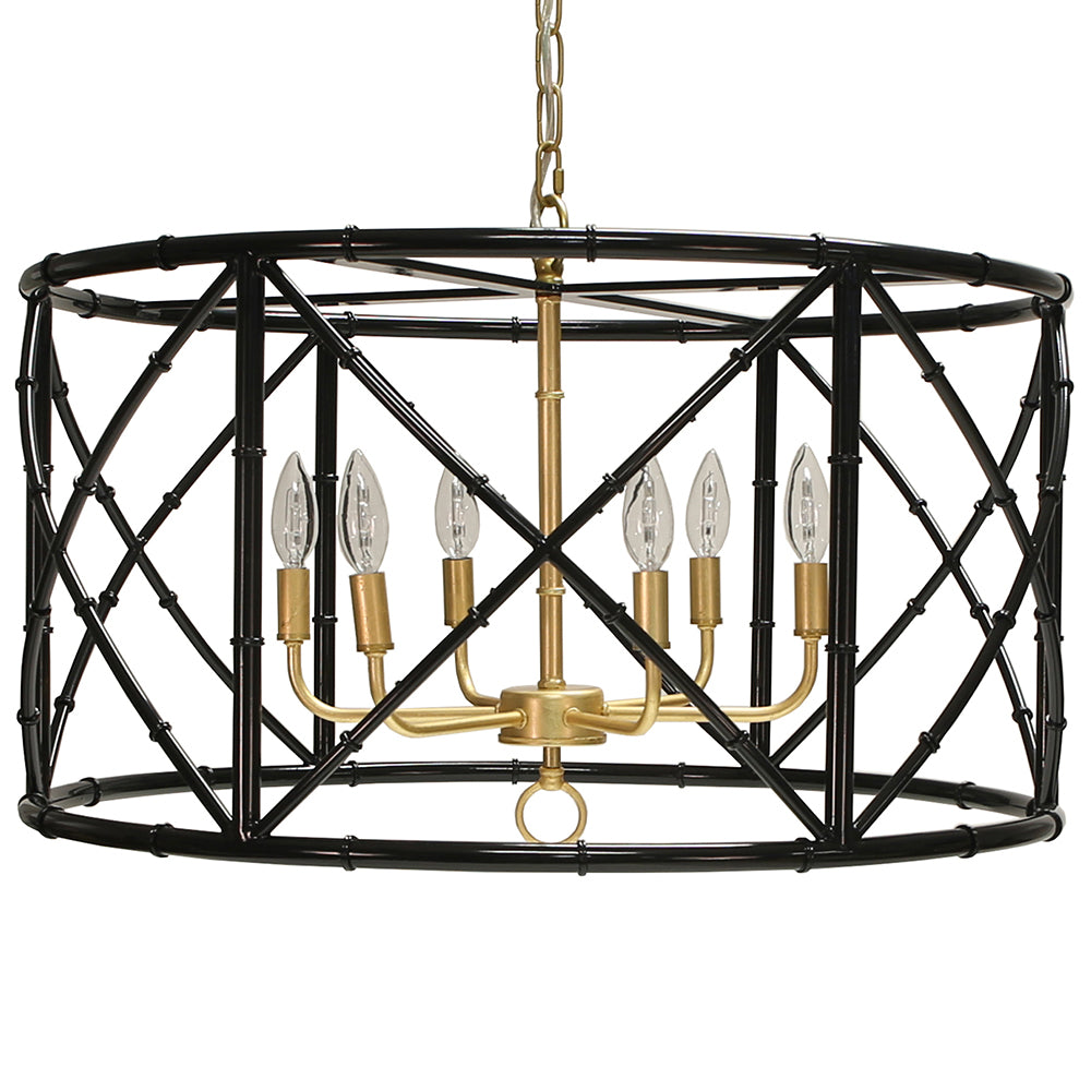 Worlds Away 6-Light Bamboo Drum Chandelier – Black & Gold