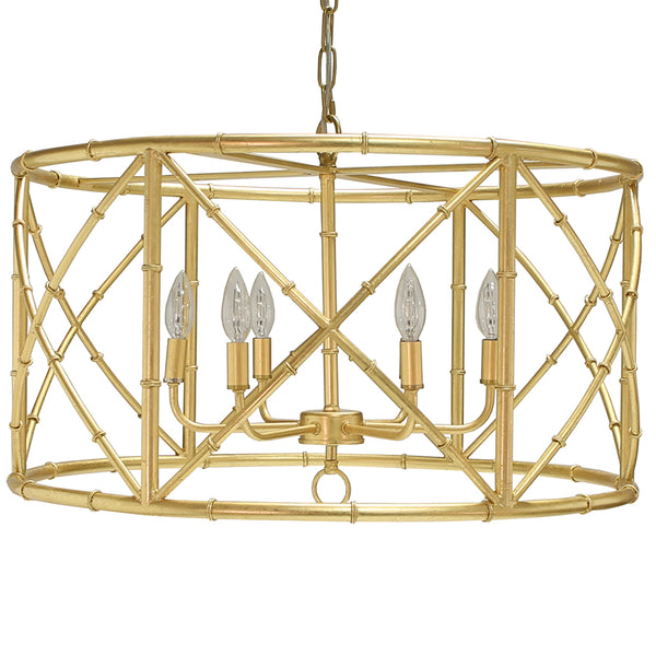 Worlds Away 6-Light Bamboo Drum Chandelier – Gold Leaf