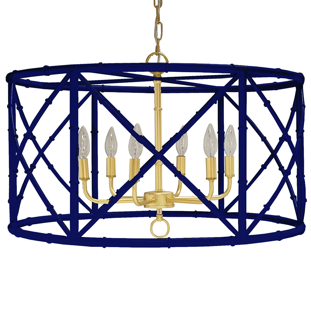 Worlds Away 6-Light Bamboo Drum Chandelier – Navy & Gold