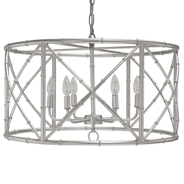 Worlds Away 6-Light Bamboo Drum Chandelier – Silver Leaf