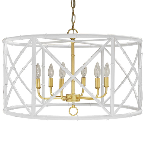 Worlds Away 6-Light Bamboo Drum Chandelier – White & Gold