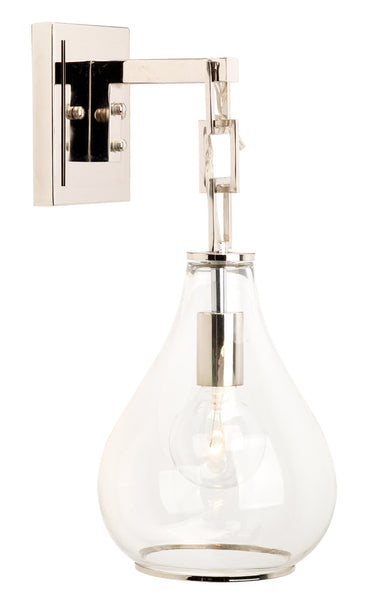 Tear Drop Hanging Wall Sconce in Clear Glass and Nickel