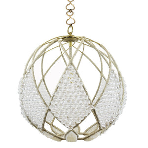"20"" Adelaid Beaded Sphere Chandelier – Clear Faceted and Milk Beads"