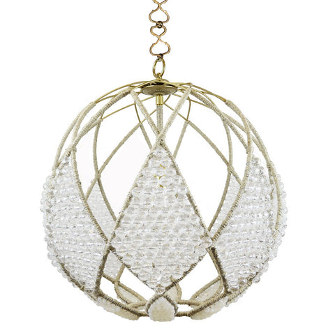 "20"" Adelaide Beaded Sphere Chandelier – Clear Faceted and Milk Beads"