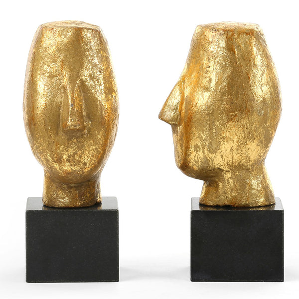 Bungalow 5 Modern Head Sculptures in Gold Leaf – Set of 2