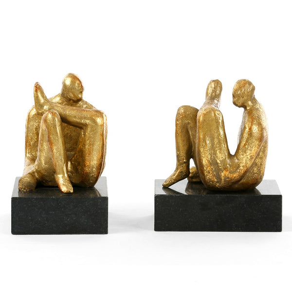 Bungalow 5 Seated Male Sculptures in Gold Leaf – Set of 2