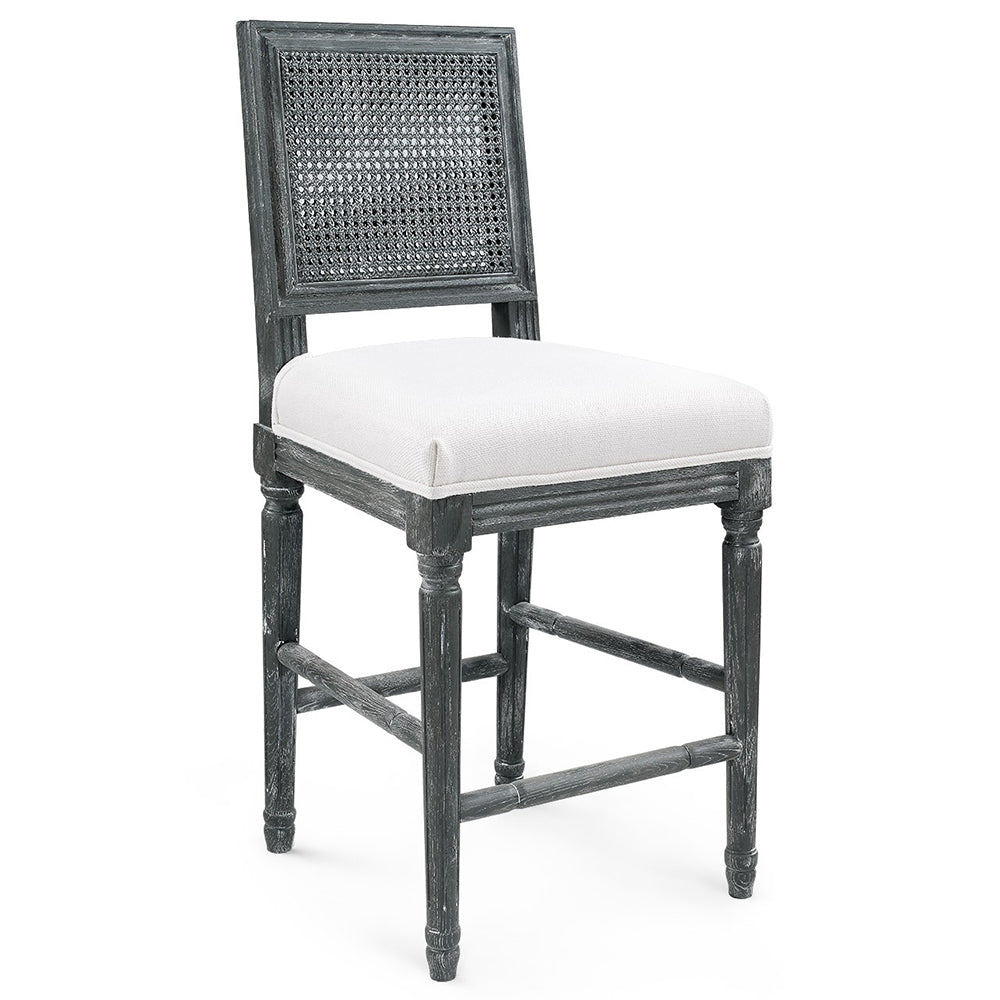 Bungalow 5 Cane Back Oak Counter Stool — Grey