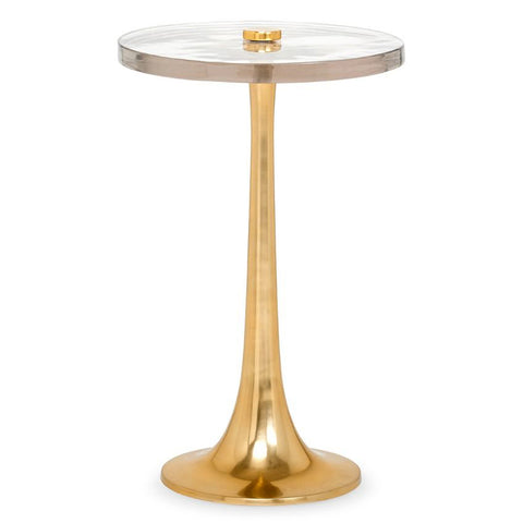 Bungalow 5 Glam Polished Brass Side Table with Round Glass Top
