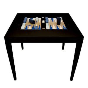 Square Lacquer Backgammon Table - Black (Additional Colors Available)