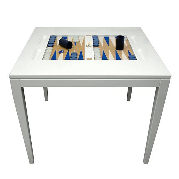Square Lacquer Backgammon Table - White (Additional Colors Available)