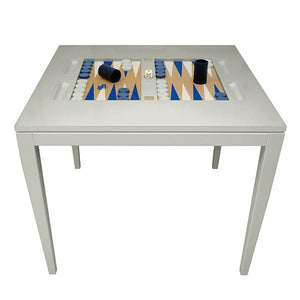 Square Lacquer Backgammon Table - Grey (Additional Colors Available)