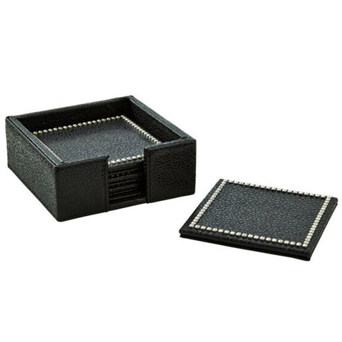 Barware - Black Shagreen Coaster Set With Crystal Edge – Set Of 4