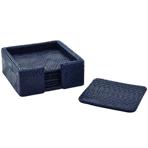 Barware - Navy Blue Python Coaster Set With Holder – Set Of 4