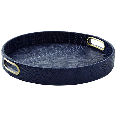 Barware - Python Round Tray With Handles— Navy Blue