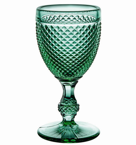 Barware - Set Of 4 Cut Stemmed Water Goblets - Green