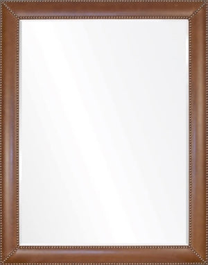 Vintage Brown Leather & Brass Nailhead Mirror - Available in 4 Sizes