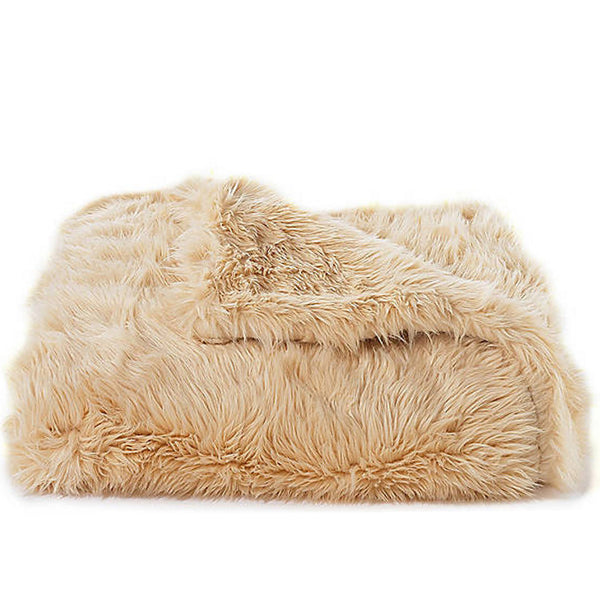 Bedding - Australian Sheep Faux Fur Throw & Coverlet - Camel
