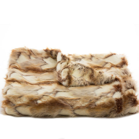 Bedding - Brandy Fox Faux Fur Throw & Coverlet - Copper
