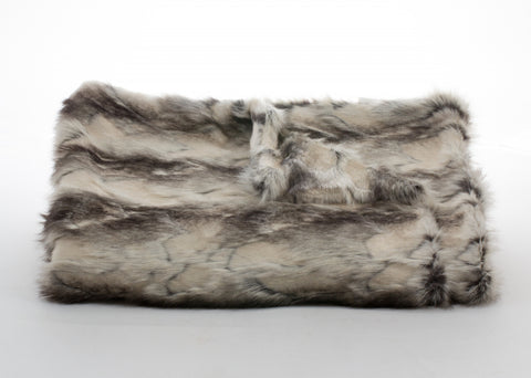 Bedding - Brandy Fox Faux Fur Throw & Coverlet - Granite