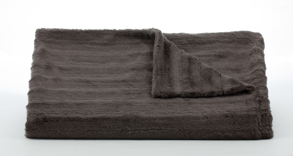 Bedding - Channel Faux Fur Throw & Coverlet - Charcoal Grey